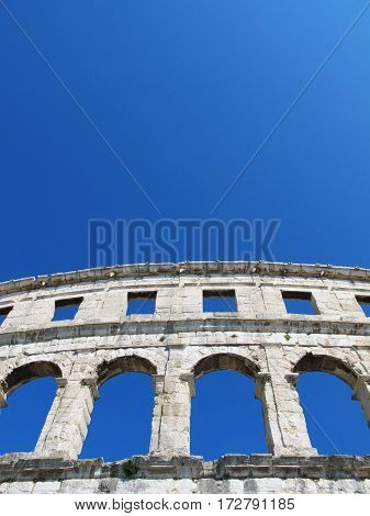 Roman amphitheater isolated in the Pula city of Croatia