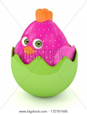 3D Render Of Easter Funny Chick In Eggshell