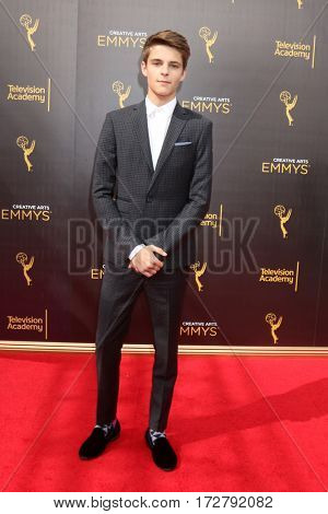 LOS ANGELES - SEP 10:  Corey Fogelmanis at the 2016 Creative Arts Emmy Awards - Day 1 - Arrivals at the Microsoft Theater on September 10, 2016 in Los Angeles, CA