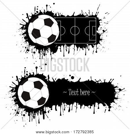 Set Of Hand Drawn Grunge Banners With Soccer Bal