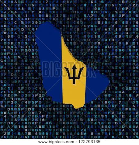 Barbados map flag on hex code 3d illustration
