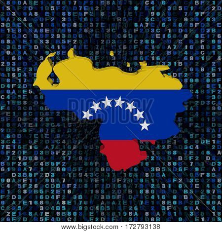 Venezuela map flag on hex code 3d illustration