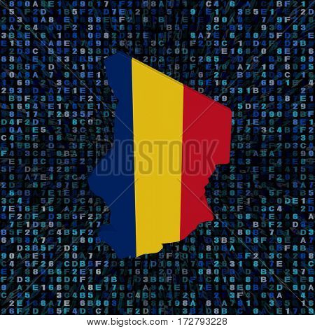 Chad map flag on hex code 3d illustration