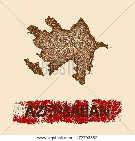 Azerbaijan Distressed Map. Grunge Patriotic Poster With Textured Country Ink Stamp And Roller Paint