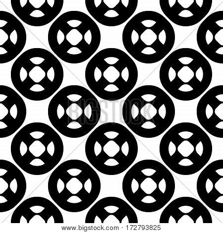 Vector seamless pattern, simple geometric figures, perforated circles, smooth lines. Black & white illustration. Endless abstract background. Modern monochrome texture. Repeat design element