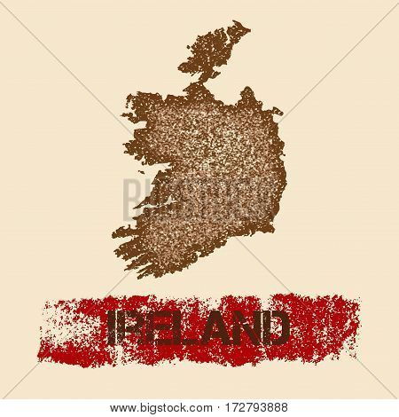Ireland Distressed Map. Grunge Patriotic Poster With Textured Country Ink Stamp And Roller Paint Mar