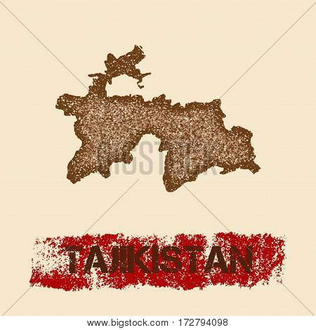 Tajikistan Distressed Map. Grunge Patriotic Poster With Textured Country Ink Stamp And Roller Paint