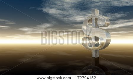glass dollar symbol under cloudy blue sky - 3d illustration