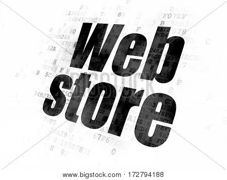 Web development concept: Pixelated black text Web Store on Digital background