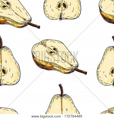 Seamles pattern vector hand made sketch illustration of engraving pear on a branch on white background