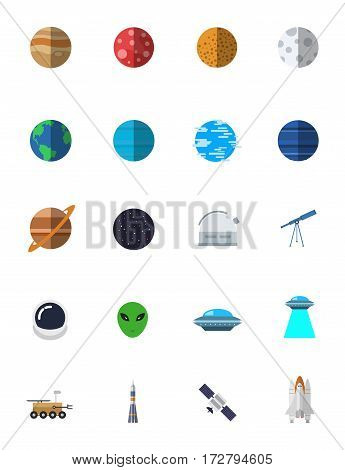 Space vector icon set in simple flat style. For you websites and application.