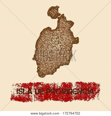Isla De Providencia Distressed Map. Grunge Patriotic Poster With Textured Island Ink Stamp And Rolle