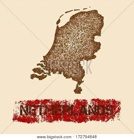 Netherlands Distressed Map. Grunge Patriotic Poster With Textured Country Ink Stamp And Roller Paint