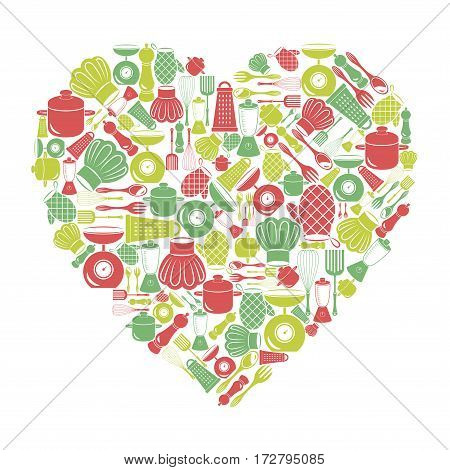 Postcard in the shape of a heart on a kitchen theme.