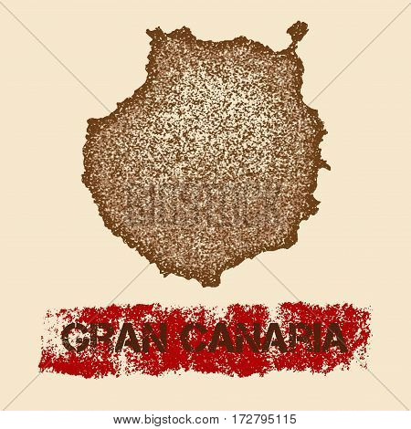 Gran Canaria Distressed Map. Grunge Patriotic Poster With Textured Island Ink Stamp And Roller Paint