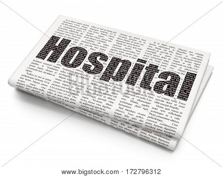 Medicine concept: Pixelated black text Hospital on Newspaper background, 3D rendering
