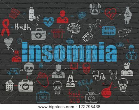 Medicine concept: Painted blue text Insomnia on Black Brick wall background with Scheme Of Hand Drawn Medicine Icons