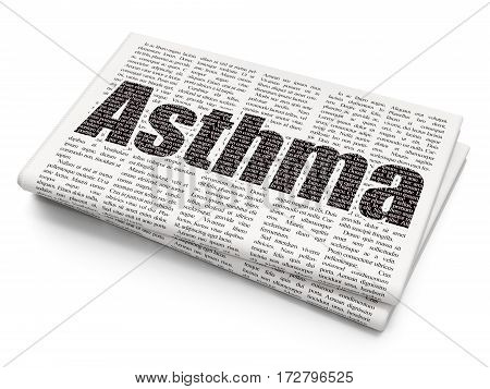 Healthcare concept: Pixelated black text Asthma on Newspaper background, 3D rendering