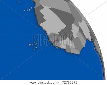 Gambia And Its Flag On Globe