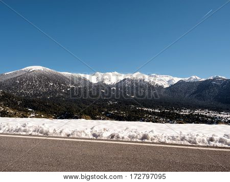 Panoramic Landscape Of Mountain Helmos With Snow