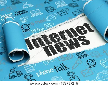News concept: black text Internet News under the curled piece of Blue torn paper with  Hand Drawn News Icons, 3D rendering