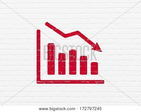 News concept: Painted red Decline Graph icon on White Brick wall background