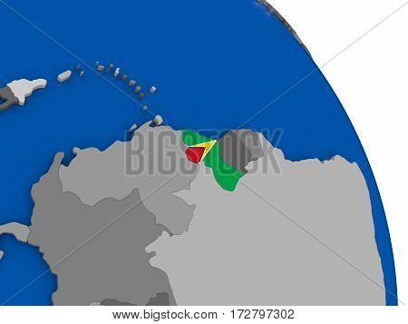 Guyana And Its Flag On Globe
