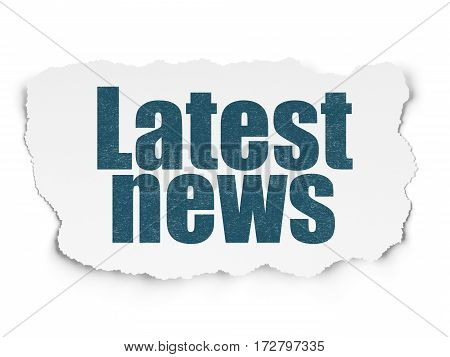 News concept: Painted blue text Latest News on Torn Paper background with Scheme Of Hand Drawn News Icons