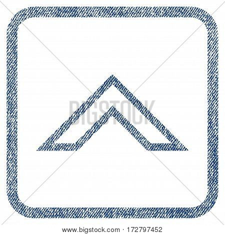Arrowhead Up vector textured icon for overlay watermark stamps. Blue jeans fabric vectorized texture. Symbol with dirty design inside rounded rectangular frame.