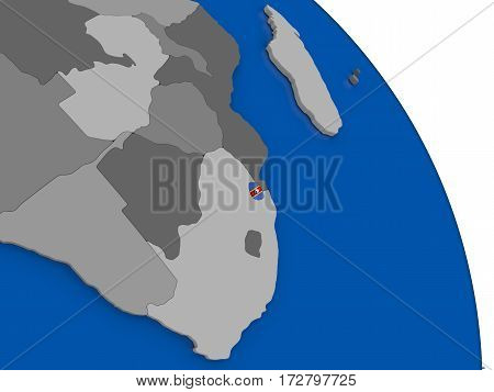 Swaziland And Its Flag On Globe