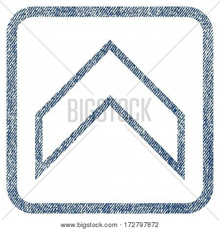 Arrowhead Up vector textured icon for overlay watermark stamps. Blue jeans fabric vectorized texture. Symbol with dirty design inside rounded rectangle.