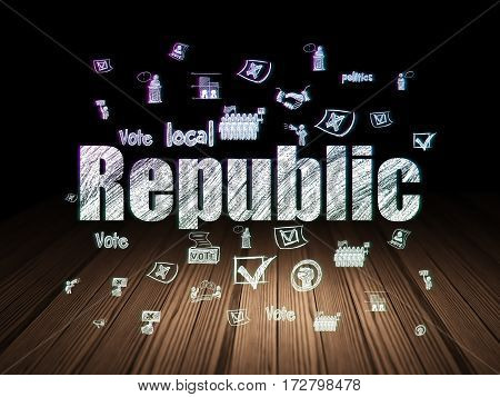Politics concept: Glowing text Republic,  Hand Drawn Politics Icons in grunge dark room with Wooden Floor, black background