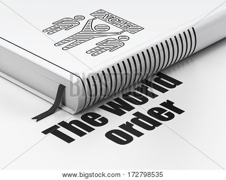 Politics concept: closed book with Black Election Campaign icon and text The World Order on floor, white background, 3D rendering