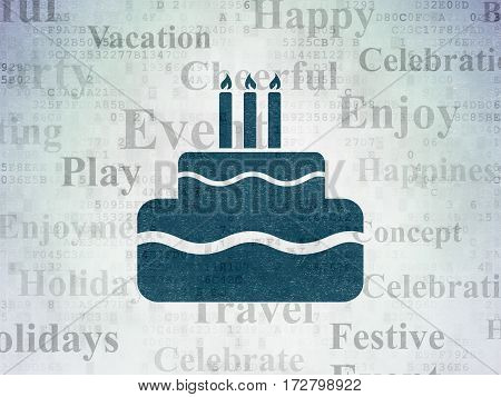Holiday concept: Painted blue Cake icon on Digital Data Paper background with  Tag Cloud
