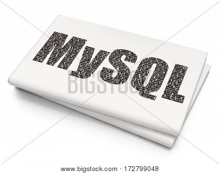 Software concept: Pixelated black text MySQL on Blank Newspaper background, 3D rendering