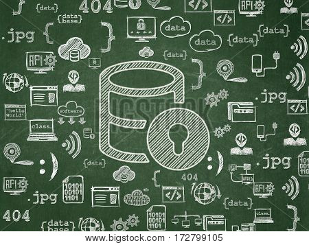 Software concept: Chalk White Database With Lock icon on School board background with  Hand Drawn Programming Icons, School Board