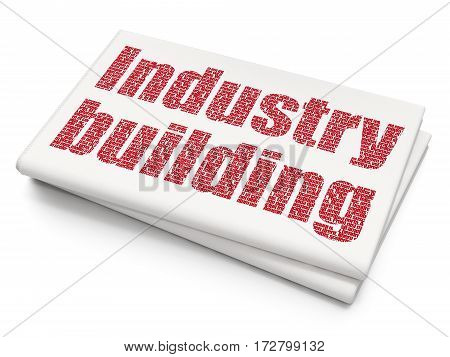 Manufacuring concept: Pixelated red text Industry Building on Blank Newspaper background, 3D rendering