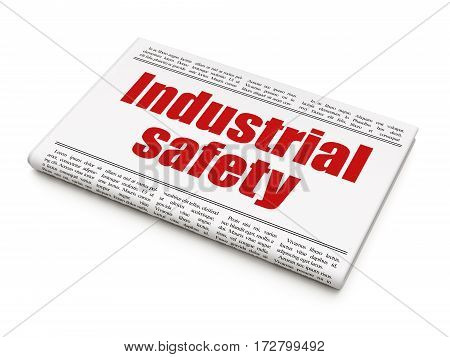 Building construction concept: newspaper headline Industrial Safety on White background, 3D rendering