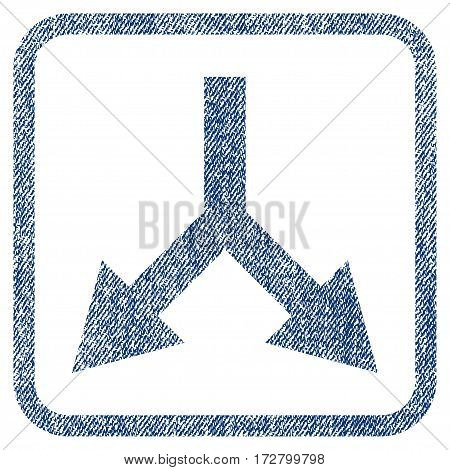 Bifurcation Arrow Down vector textured icon for overlay watermark stamps. Blue jeans fabric vectorized texture. Symbol with dirty design inside rounded rectangular frame.
