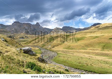 Mountains of the Pyrenees. Summer day in the Pyrenees between France and Spain