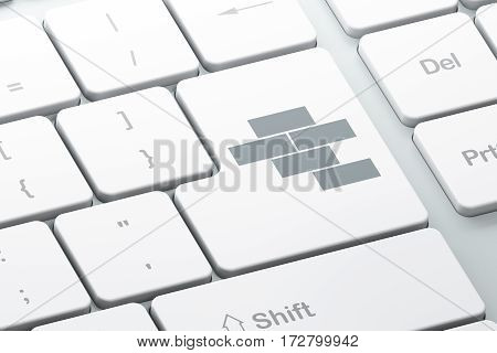Building construction concept: Enter button with Bricks on computer keyboard background, 3D rendering