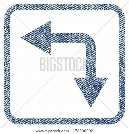 Bifurcation Arrow Left Down vector textured icon for overlay watermark stamps. Blue jeans fabric vectorized texture. Symbol with unclean design inside rounded rectangular frame.
