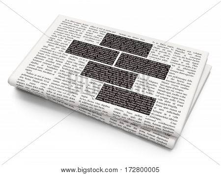 Constructing concept: Pixelated black Bricks icon on Newspaper background, 3D rendering