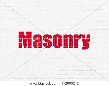 Construction concept: Painted red text Masonry on White Brick wall background