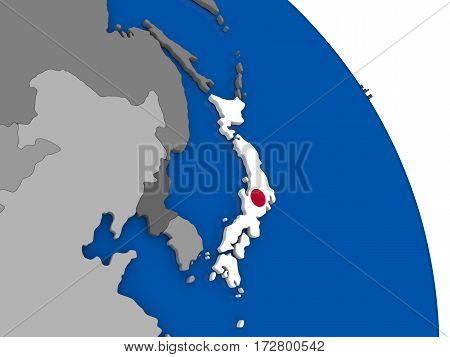 Japan And Its Flag On Globe