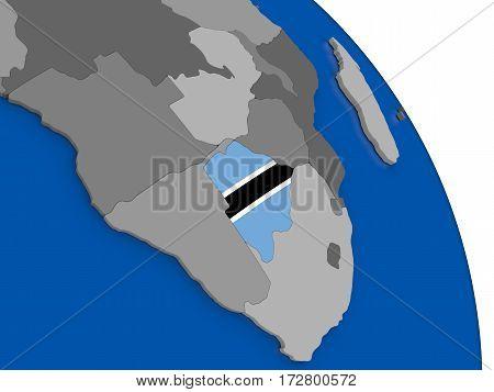 Botswana And Its Flag On Globe