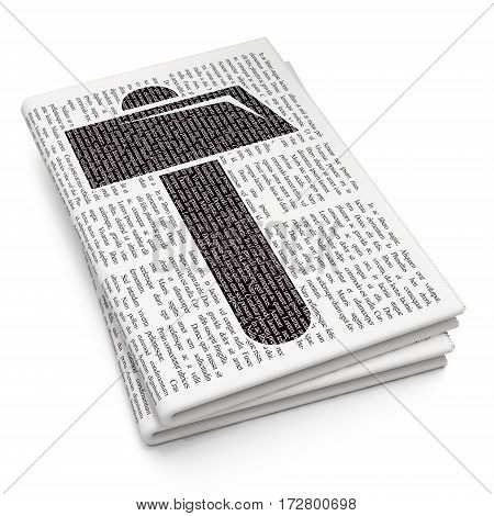 Constructing concept: Pixelated black Hammer icon on Newspaper background, 3D rendering