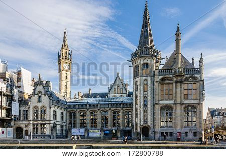 GHENT, BELGIUM - JANUARY 28, 2017: Medieval buildings in Ghent Flanders Belgium