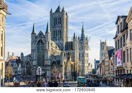 GHENT, BELGIUM - JANUARY 28, 2017: Three towers in Ghent Flanders Belgium