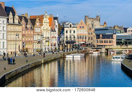 GHENT, BELGIUM - JANUARY 28, 2017:Colorful houses on the riverside in Ghent Flanders Belgium
